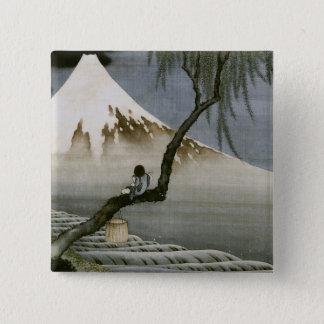 男の子および富士山Hokusaiの日本人のファインアート 5.1cm 正方形バッジ