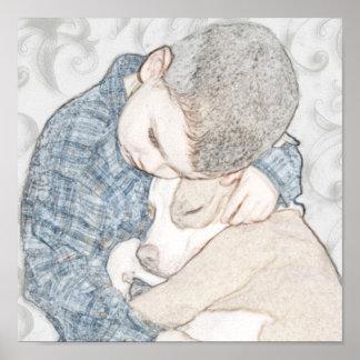 男の子および彼の子犬 ポスター