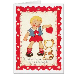 男の子および彼の犬からのバレンタイン カード