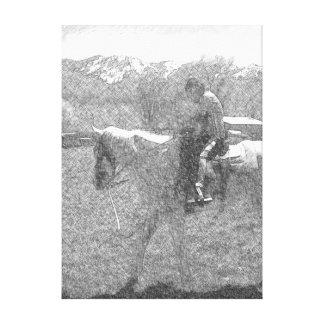 男の子および彼の馬 キャンバスプリント