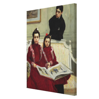男の子および彼の2 Sisters 1900年の家族のポートレート キャンバスプリント