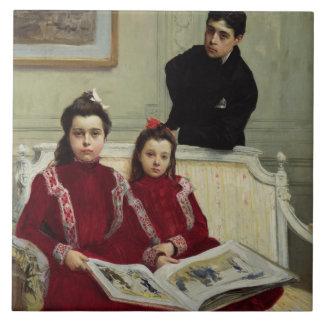男の子および彼の2 Sisters 1900年の家族のポートレート タイル