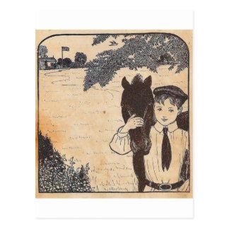 男の子および馬 ポストカード