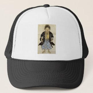 男の子としてMiyamoto Musashi、江戸時代のポートレート キャップ