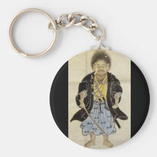 男の子としてMiyamoto Musashi、江戸時代のポートレート キーホルダー