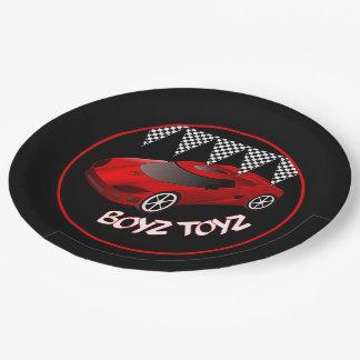 男の子のおもちゃの赤いスポーツ・カーの紙皿2 ペーパープレート