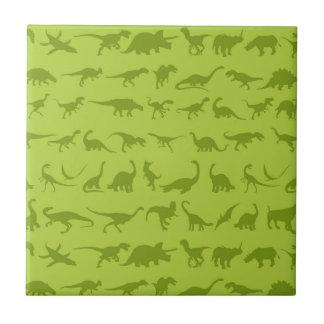 男の子のためのかわいい緑恐竜パターン タイル