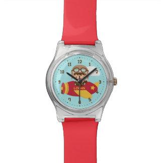 男の子のためのかわいい飛行士の男の子の飛行機の冒険 腕時計