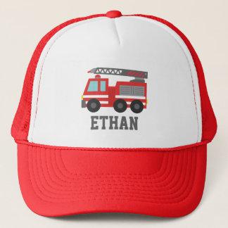 男の子のためのかわいく赤い普通消防車、名前 キャップ