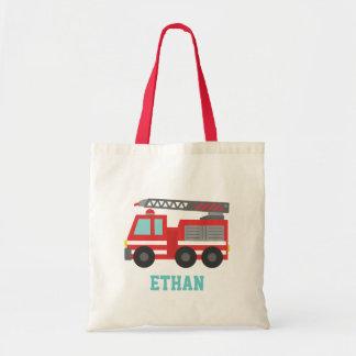 男の子のためのかわいく赤い普通消防車、名前 トートバッグ