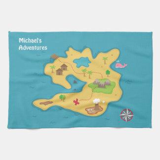 男の子のための海賊島の冒険の宝物地図 キッチンタオル