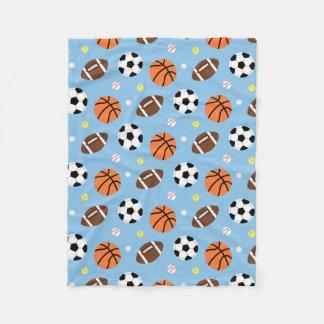 男の子のための球のスポーツがテーマのパターン フリースブランケット