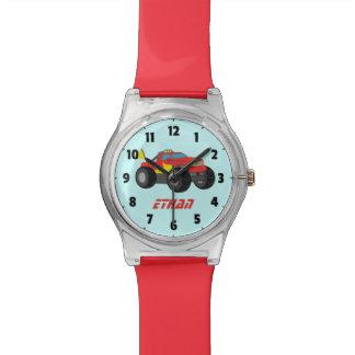 男の子のための赤いモンスタートラックを、競争させます 腕時計