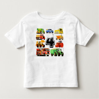 男の子のカスタムな年齢の建築のトラックの第4誕生日 トドラーTシャツ