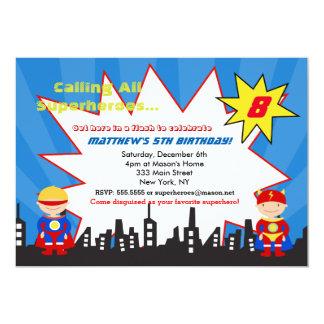 男の子のスーパーヒーローのバースデーパーティ招待状 カード