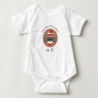男の子のソックス猿の赤いおよび茶色最初誕生日のワイシャツ ベビーボディスーツ