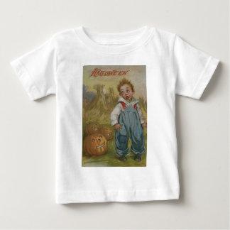 男の子のハロウィーンのカボチャのちょうちんのカボチャ三角波の満月 ベビーTシャツ