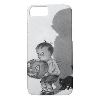 男の子のハロウィーンのカボチャのちょうちんのモノクロ影の黒猫 iPhone 8/7ケース