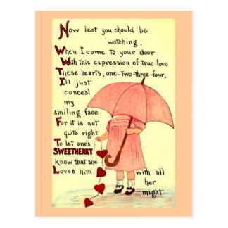 男の子のバレンタインのための内気な女の子 ポストカード