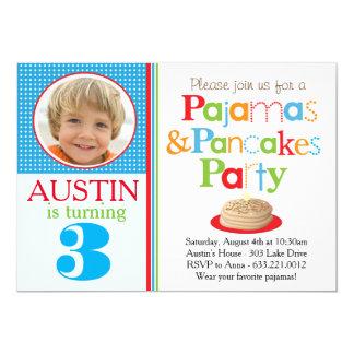 男の子のパンケーキ及びパジャマのパーティの招待状(写真) カード
