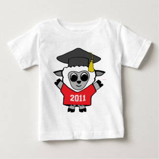 男の子のヒツジ赤い及び白の2011年の卒業生 ベビーTシャツ