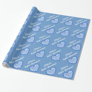 男の子のベビーシャワーの名前をカスタムするの青いシマウマのハート3 ラッピングペーパー