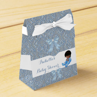 男の子のベビーシャワーの青くかわいいベビーのダマスク織の好意AM フェイバーボックス
