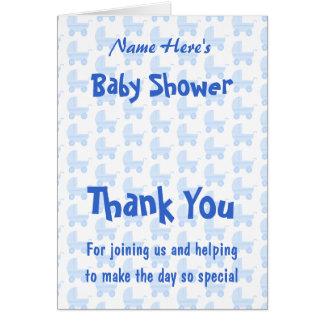男の子のベビーシャワー。 青いベビーカーパターン カード