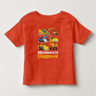 男の子の一流の巨大な建築の坑夫の掘削機 トドラーTシャツ