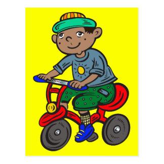男の子の乗馬の三輪車 ポストカード
