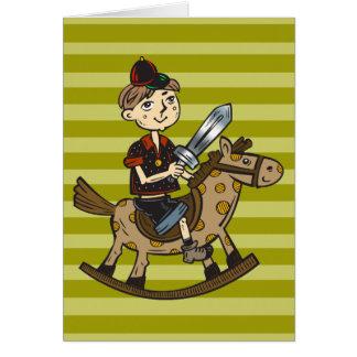 男の子の乗馬の揺り木馬 カード