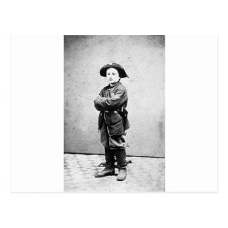 男の子の兵士c. 1860-1865年のポートレート。 内戦 ポストカード