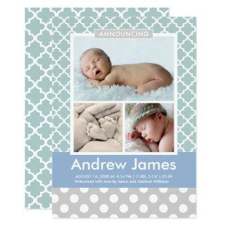 男の子の写真の誕生の発表カード|モダンなパターン カード