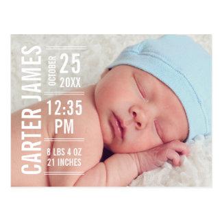 男の子の写真の誕生の発表 のモダンなタイプ ポストカード