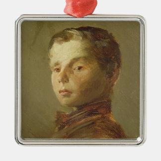 男の子の写真、1875年 メタルオーナメント