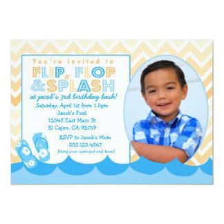 男の子の双安定回路のためのプールのパーティの招待状 カード