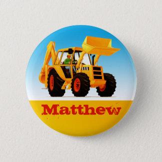 男の子の名前をカスタムするの建築の黄色の坑夫 5.7CM 丸型バッジ