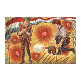 男の子の大砲の花火の爆竹 キャンバスプリント