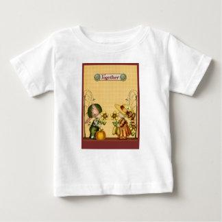 男の子の女の子の国のきちんとしたヒマワリのカボチャ金ゴールドの緑 ベビーTシャツ