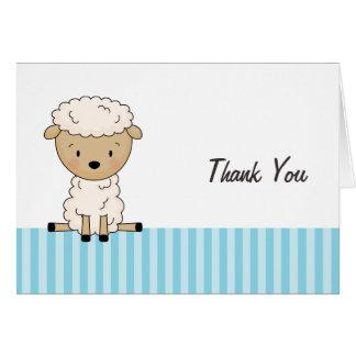 男の子の子ヒツジのベビーシャワーの青い縞は感謝していしています カード