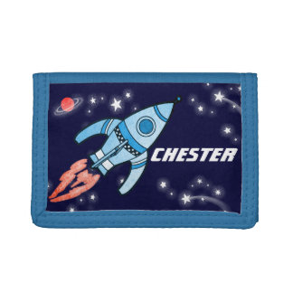 男の子の宇宙ロケットの青はあなたの一流の札入れを加えます