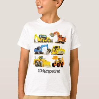 男の子の巨大な建築の坑夫および掘削機 Tシャツ