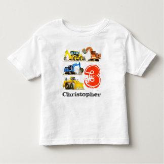 男の子の巨大な建築の坑夫の第3誕生日 トドラーTシャツ