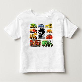 男の子の建築のトラックの第2誕生日 トドラーTシャツ