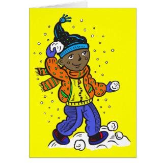 男の子の投げる雪玉 カード