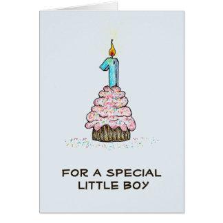 男の子の最初誕生日のカップケーキカード グリーティングカード