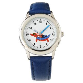 男の子の格別のダックスフントのスーパーヒーローの腕時計 腕時計