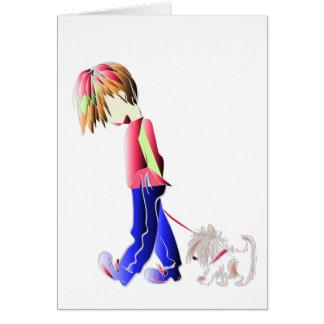 男の子の歩くかわいい犬のデジタル芸術 カード