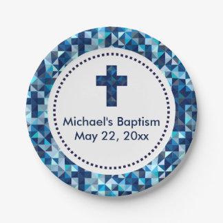 男の子の洗礼の《キリスト教》洗礼式や命名式の最初聖餐 ペーパープレート