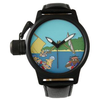 男の子の海賊王冠の保護装置の黒の革腕時計 腕時計